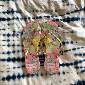 Lilly Pulitzer for Target floral gold flip flops